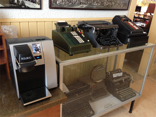 Alberta Railway Museum's office has a telegraph collection. (Check out the Keurig!)