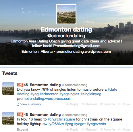 Sam met his fiance online, and is now using his blog and Twitter account to share dating tips to help other Edmontonians find love too!