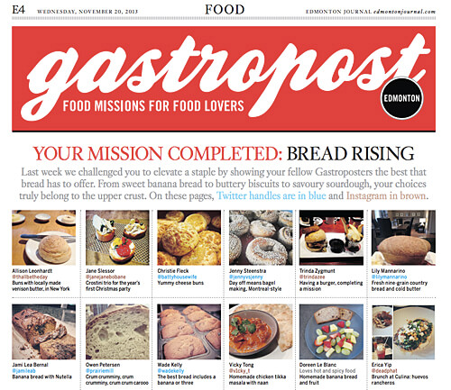 Every Wednesday, Gastropost appears as a two-page spread in the the Edmonton Journal newspaper.