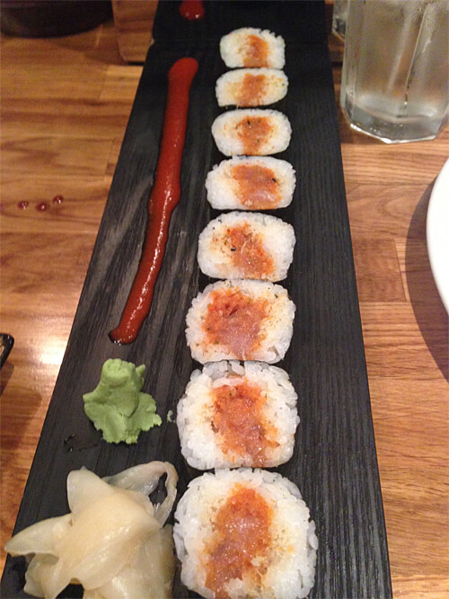 Bakudan rolls - spicy tuna with tempura bits - $8.95
