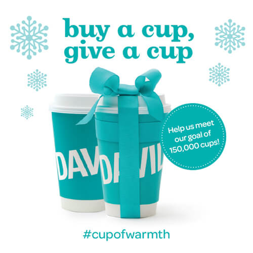 DAVIDsTEA #cupofwarmth campaign runs until Jan. 28. Help the food bank with each cup of tea you buy!