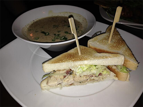 John's Clubhouse (turkey, Irvings bacon, sylvan star grizzly cheese, lettuce, tomatoes, basil mayo with leek & potato soup) - $18