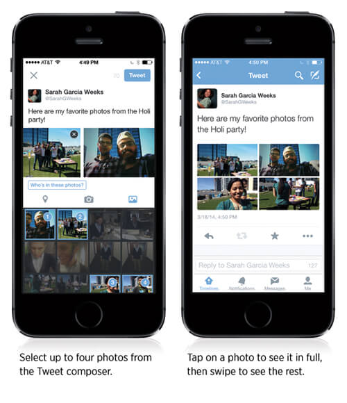 Twitter now lets users add up to 4 photos in a tweet.