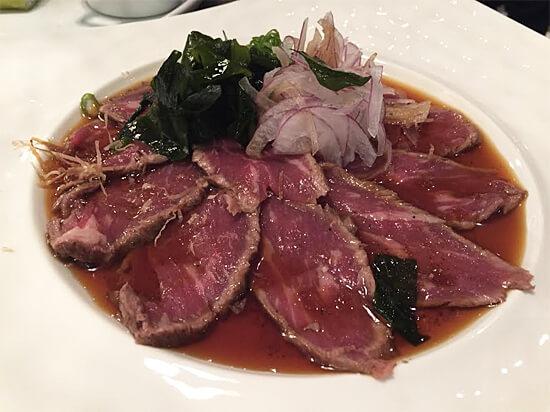 Beef Tataki with ponzu sauce - $10