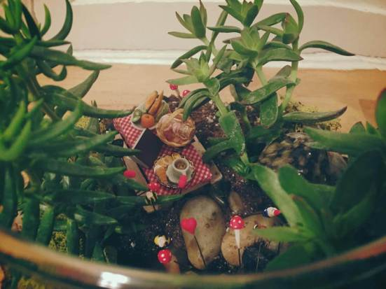 Whimsical Forest Picnic terrarium - up for auction at the Edmonton Home + Garden Show March 19-22!