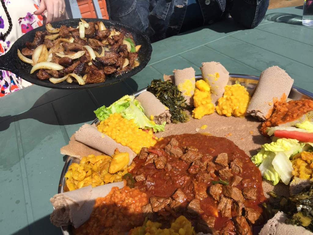 The veggie platter, lamb and beef entree at Abyssinia Ethiopian Restaurant!