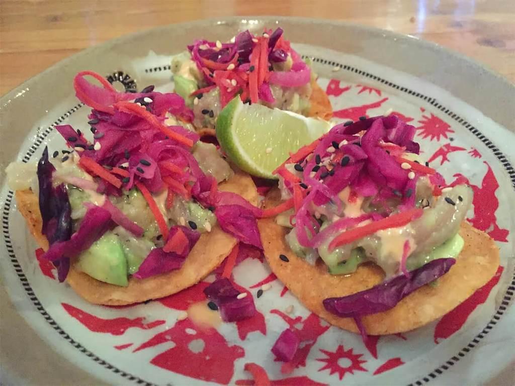 Mini Tuna Tostadas with avocado and chipotle aioli ($12) at El Cortez Mexican Kitchen + Tequila Bar.