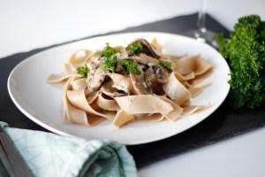 Hvítlauks pasta með portobello sveppum