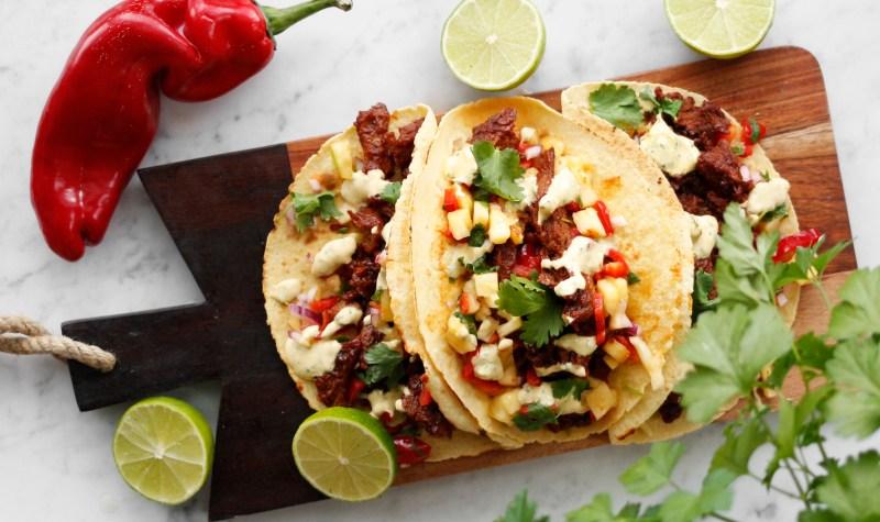 vegan pulled pork taco með ananas salsa