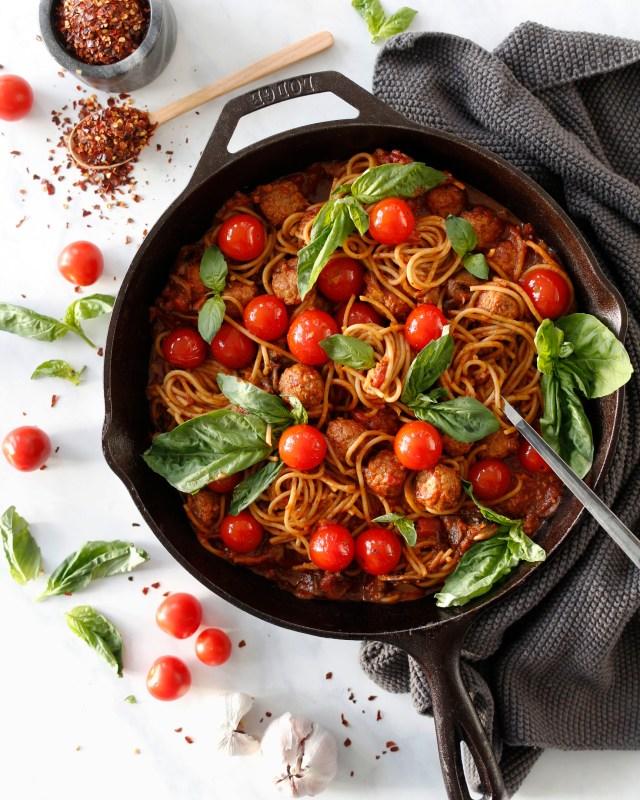Grænmetis bollu spagettí, grænmetisréttir í viku, anamma