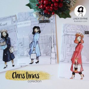 Christmas in Dublin, Merrion Sq, Illustration, Fashino Illustration, Greeting Card, Linda Byrne, Christmas Cards, Irish Made