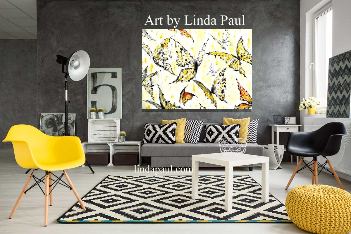 Art Wall Butterfly Wall Art On Canvas Canvas Art In Black White Yellow And Red Created In Colorado By American Artist Linda Paul