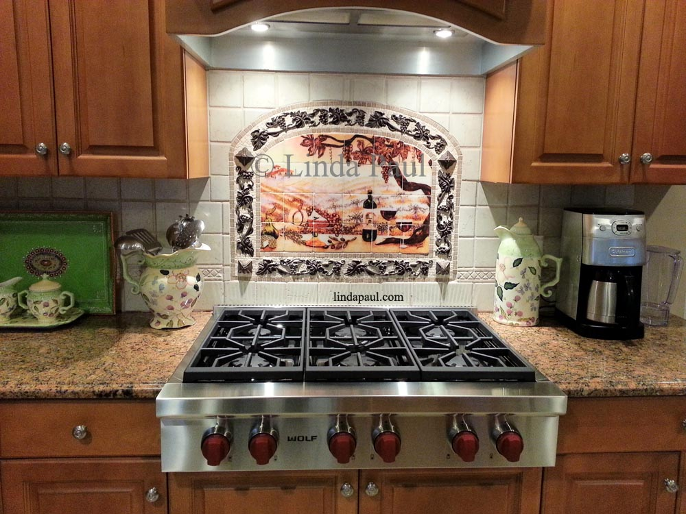vineyard tile murals tuscan wine tiles kitchen backsplashes mosaic tile backsplash kitchen ideas pictures home design ideas