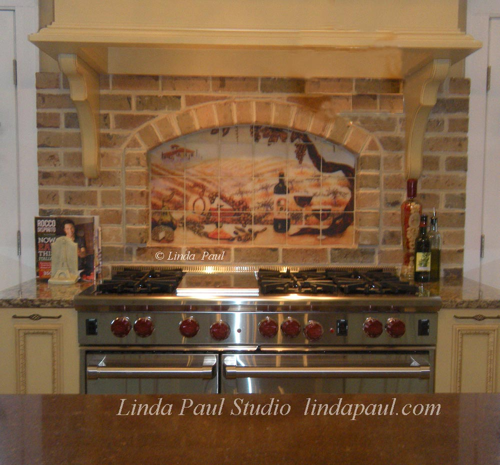 vineyard tile mural installed brick kitchen niche kitchen tile backsplashes pictures kitchen remodels kitchen tile