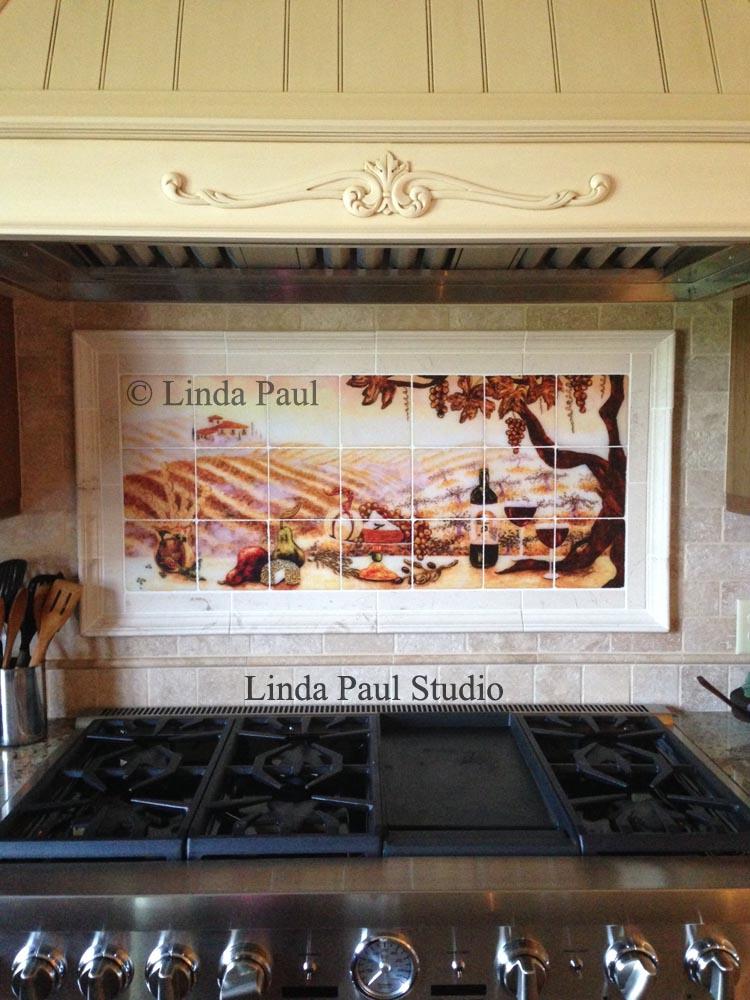 vineyard tile murals tuscan wine tiles kitchen backsplashes ceramic tile mural kitchen tiles