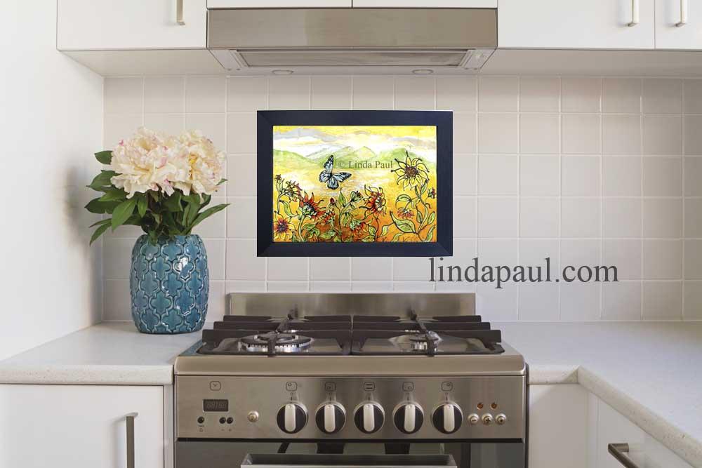 sunflowers backsplash hung temporary removable backsplash removable kitchen backsplash future home