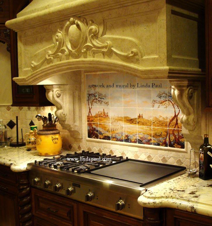 italian custom kitchen featuring fields tuscany tile mural love pattern copper backsplash photo
