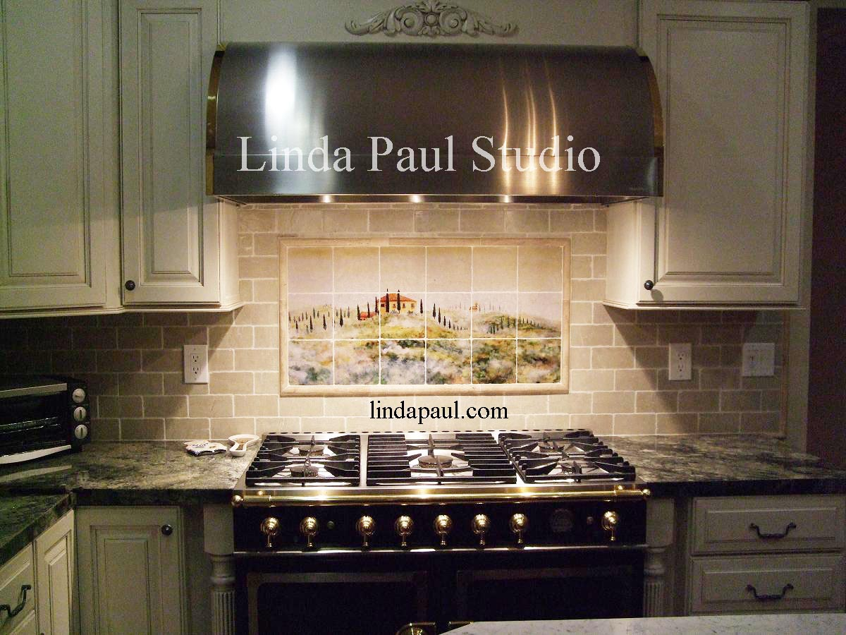 kitchen backsplash tile murals tuscan landscape artist linda ceramic tile mural kitchen tiles