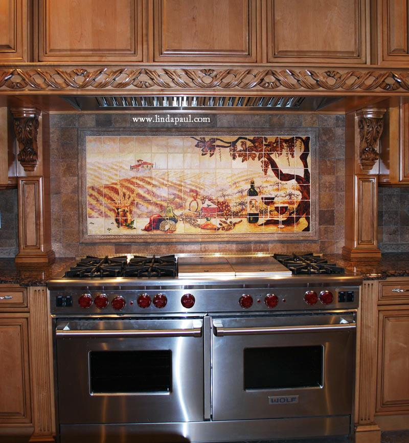 vineyard tile murals tuscan wine tiles kitchen backsplashes ceramic tile mural kitchen tiles