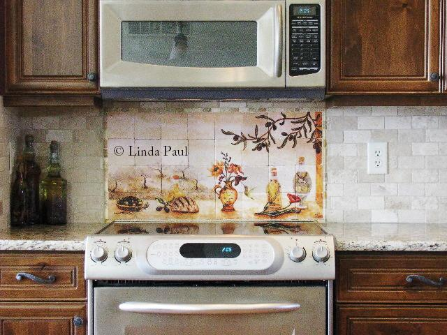 olive garden tiles backsplash wall mural artist linda paul ceramic tile mural kitchen tiles