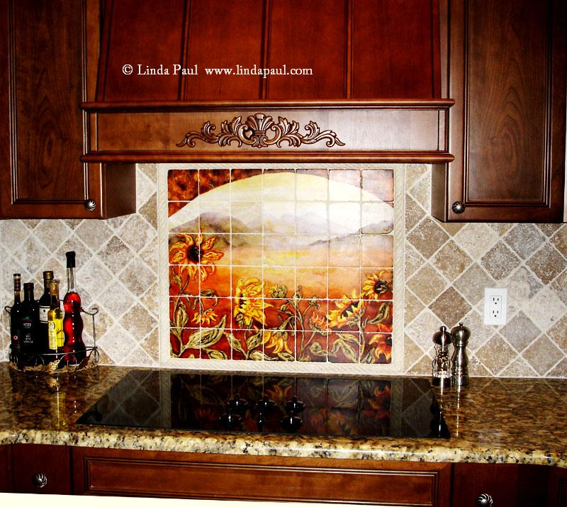 sunflower kitchen decor tile murals western backsplash sunflowers ceramic tile mural kitchen tiles
