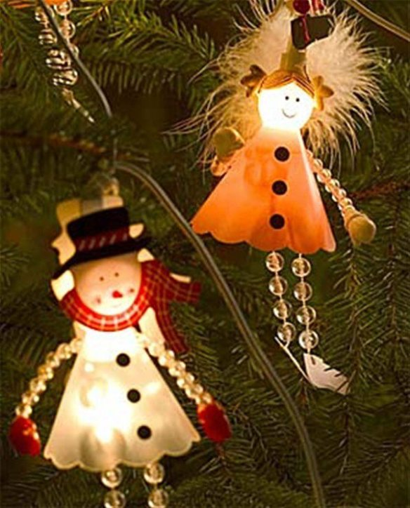 lyslenke samlebilde snømann og engel