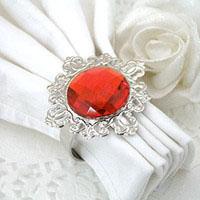 Serviettring rød krystall
