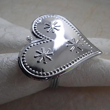 serviettring hjerte blank jul
