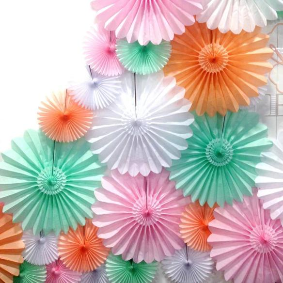 Papirvifter 30 cm rosa hvit mint