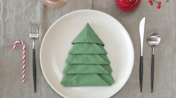 grønt juletre serviett bretting