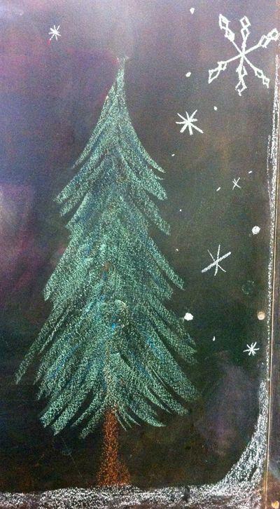 Juletre på tavle wallstickers