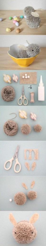 hjemmelaget påskehare med garn og filt påskepynt