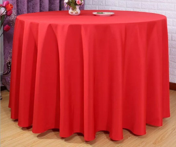 Bordduk rundt bord rød