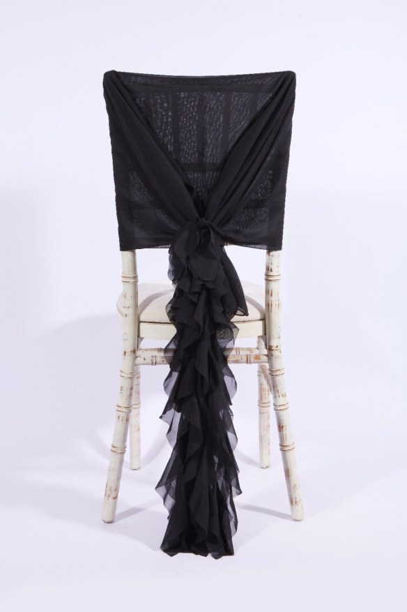Stor dekorsløyfe til stol sort