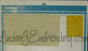 LindeeGEmbroidery-Arranging multiple fabrics on mat