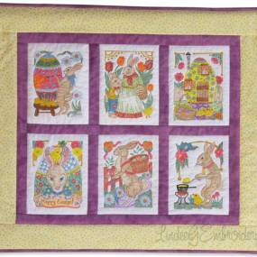 Machine embroidered VIntage Easter Bunnies wall hanging colored with Tsukineko inks by Lindee G Embroidery