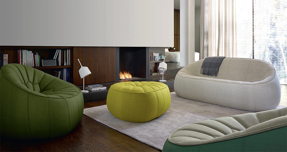Modern Sofa With Removable Covers Ottoman By Ligne Roset | Modern Lobby Seating - Linea Inc