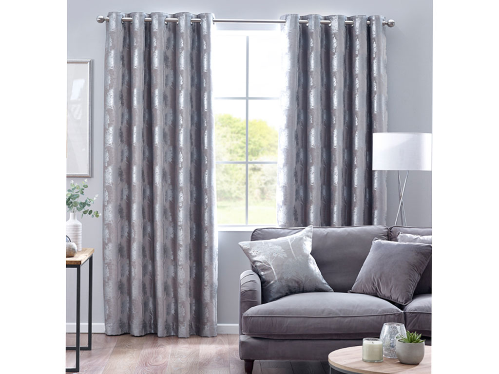 Design Studio Enchanted Forest Silver Eyelet Lined Curtains