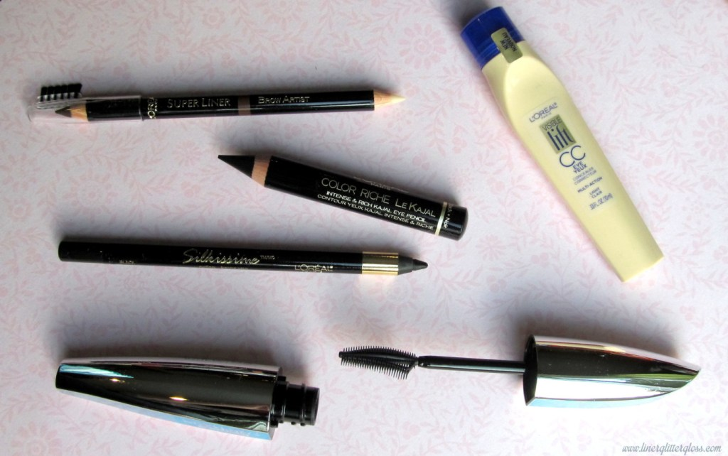 l'oreal paris superliner brow artist, l'oreal paris infallible silkissime eyeliner, l'oreal paris colour riche le kajal, l'oreal paris voluminous butterfly mascara waterproof, l'oreal paris visible lift cc concealer