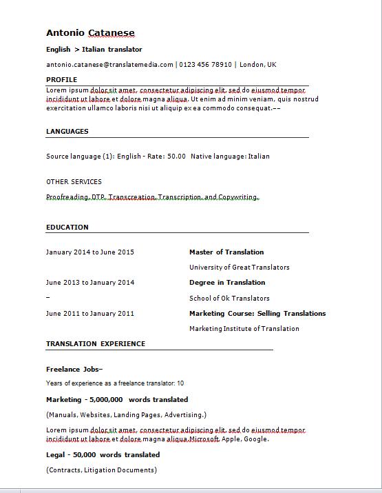 cv freelance example