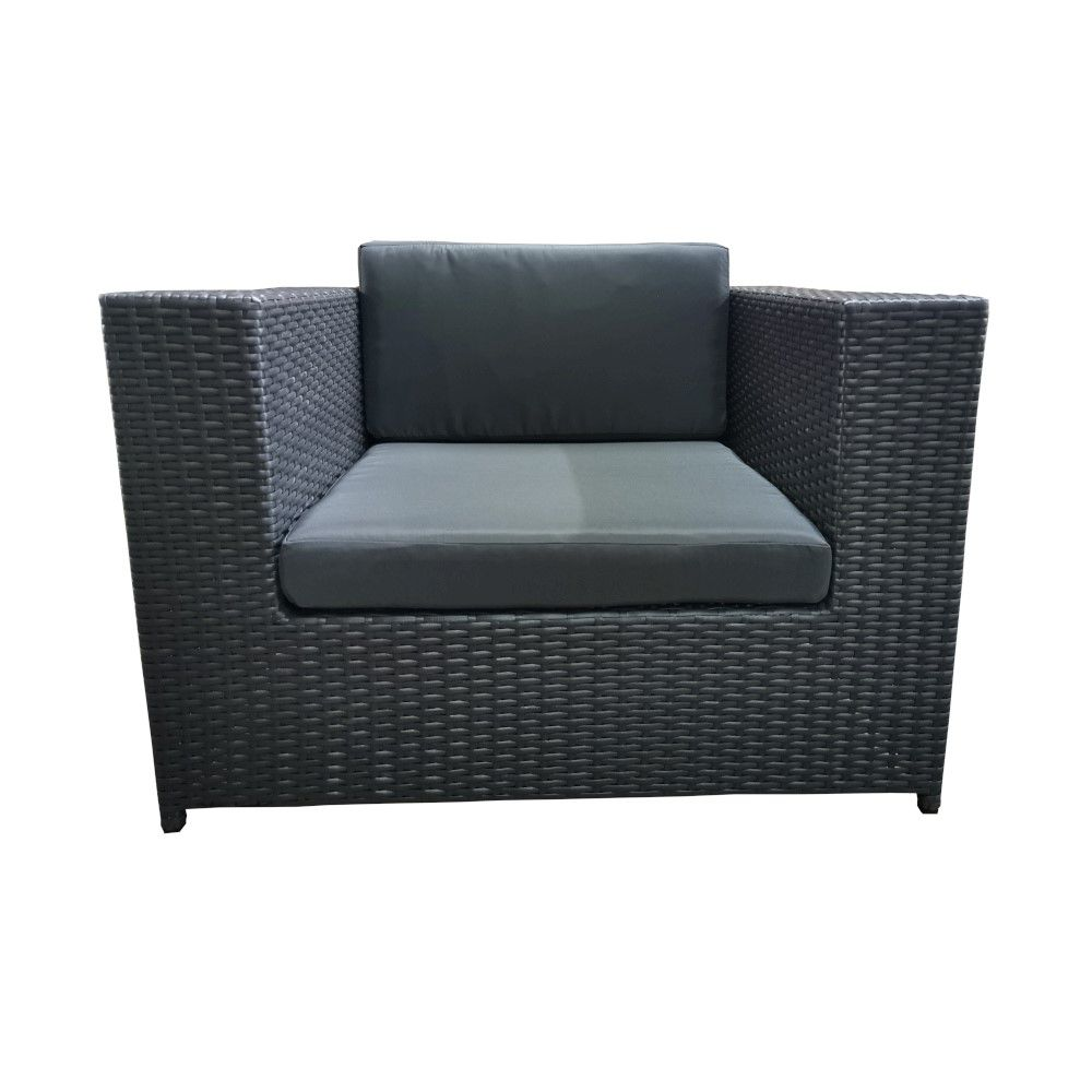 Rattan Sofa Luanda Rattan Wicker Garden Single Sofa Anthracite Outdoor Lounge Furniture Couch
