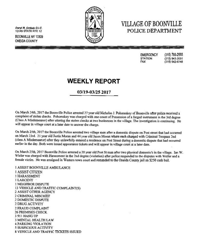 Boonville Police Department Weekly Activity Report March 19 - 25
