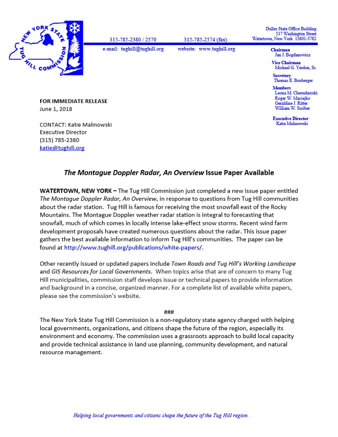 Tug Hill Commission Releases Issue Paper on Montague Doppler Radar