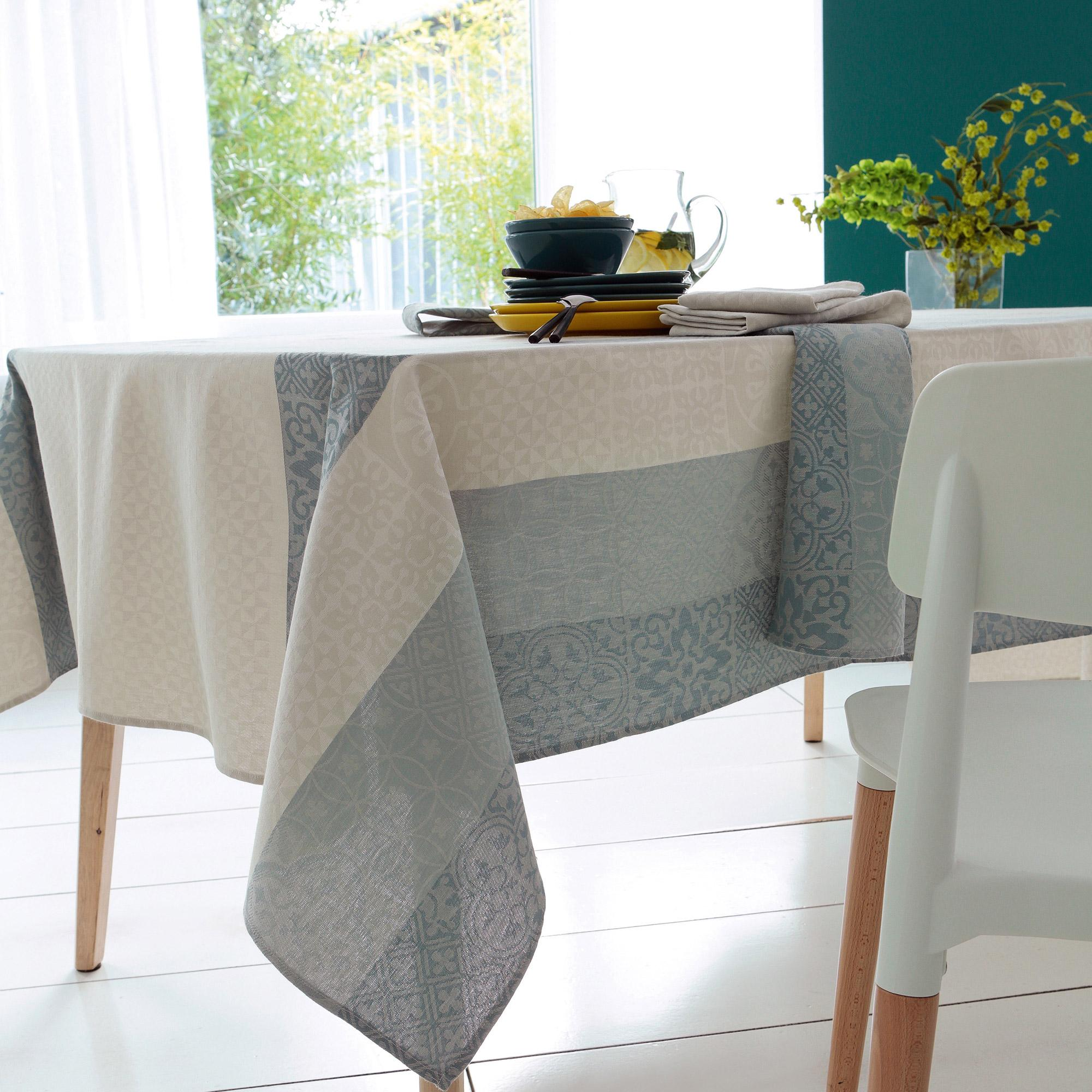 Nappe Coton Nappe Rectangle 150x350 Cm Jacquard 100 Coton Enduction Acrylique Mosaic Perle Gris