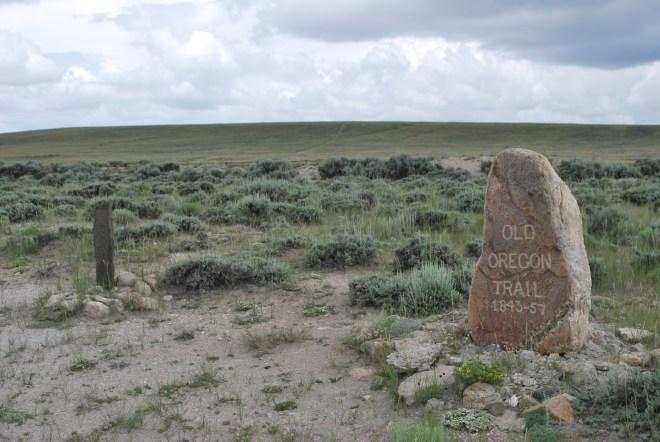 Stone markers commemorating Ezra Meeker and Narcissa Whitman.