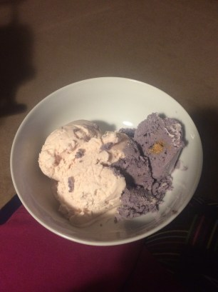 frozen yogurt and biscoff/blueberry ice cream!
