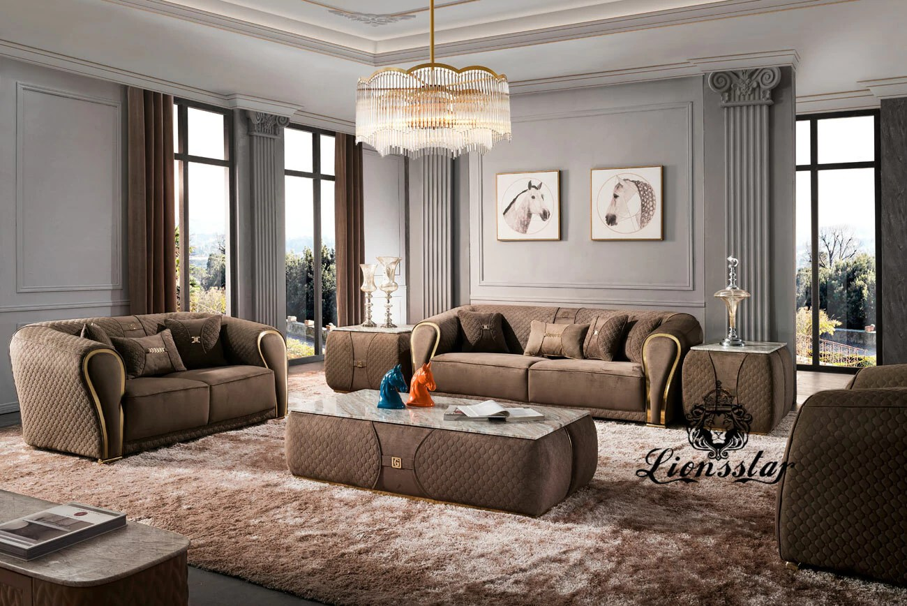 Edel Luxus Sofa Set Polo Sports Braun Lionsstar Gmbh