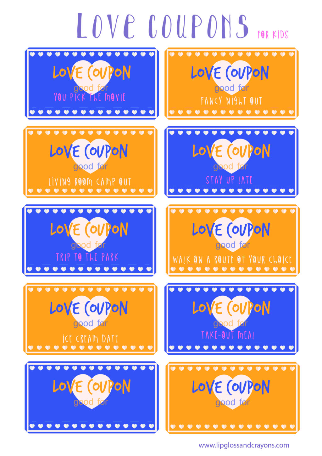 Movie Park Coupon Love Coupons For Kids Lipgloss And Crayons