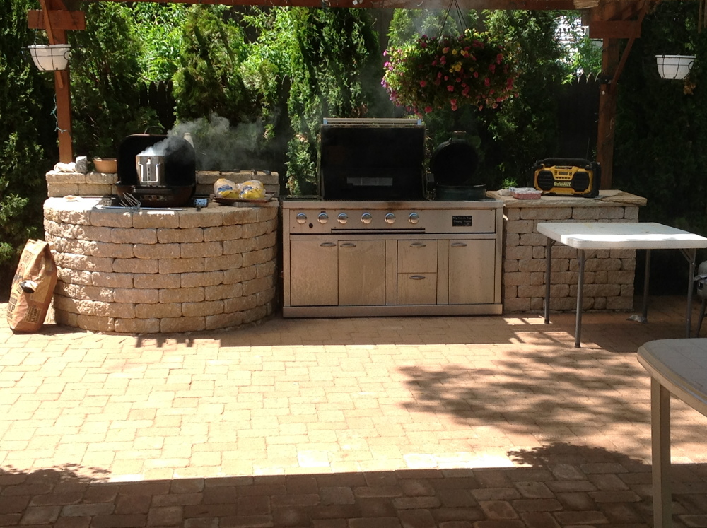 Long Kitchen Island Li Outdoor Kitchens | Millers Place Backyard Repair | Nyc