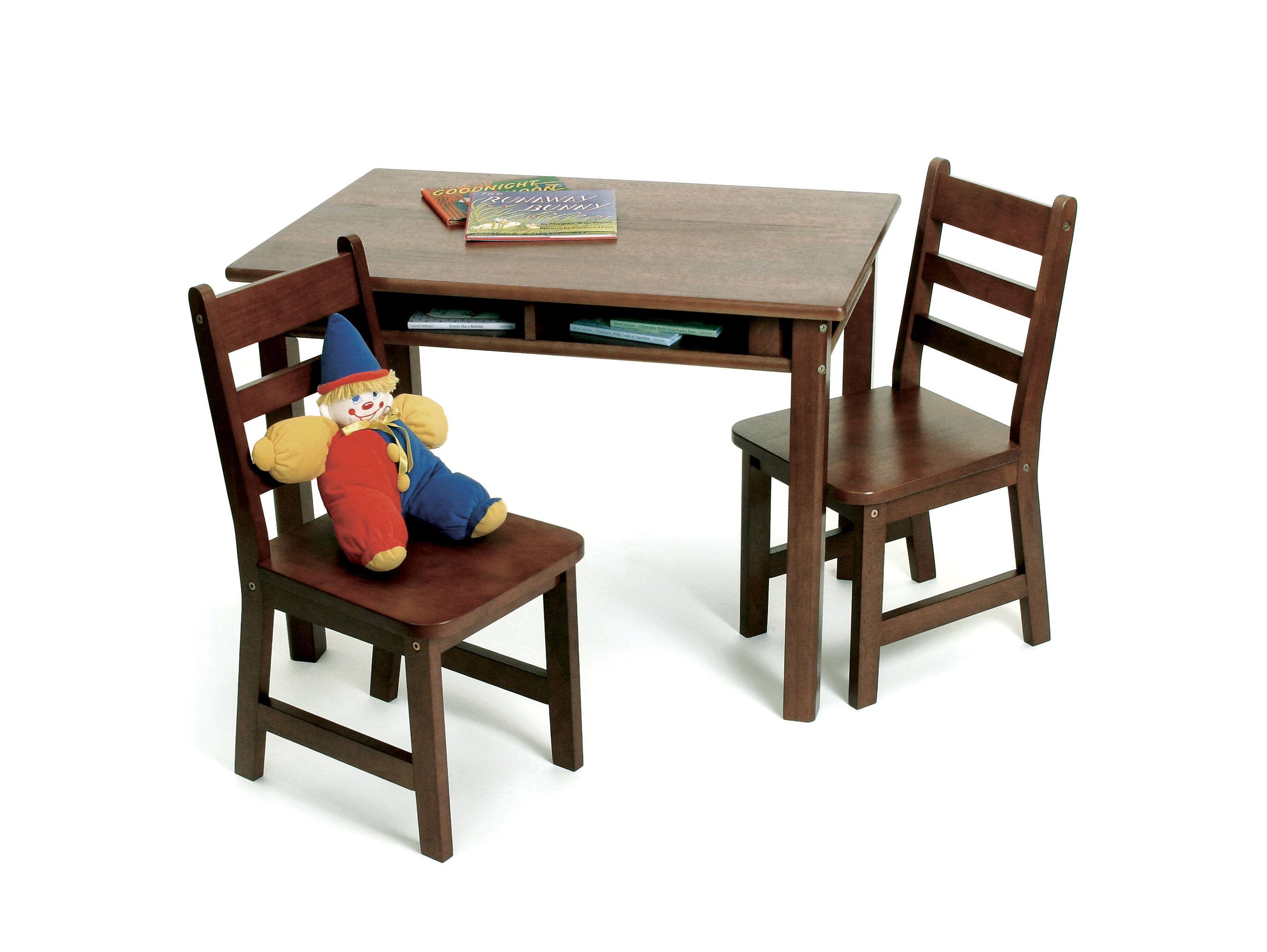 Childrens Wooden Table And Chairs Child S Rectangular Table With Shelves 2 Chairs Walnut Finish